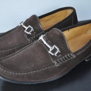 GUCCI Brown Horsebit Suede Leather Loafers 8 1/2